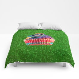 Cupcake Love | Rainbow Peanut Butter Cup on Green Sparkle Comforters