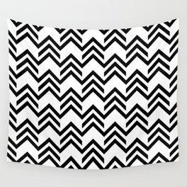 Broken Chevrons Black and White Wall Tapestry
