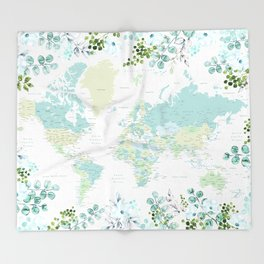 Mint and green floral world map with cities Throw Blanket