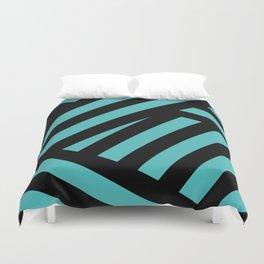 Black blue abstract stripes Duvet Cover