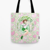 sailor jupiter Tote Bags featuring Sailor Jupiter by Neo Crystal Tokyo