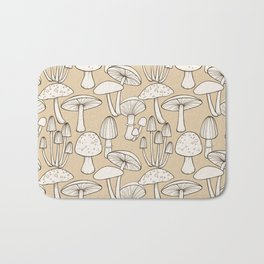 Mushrooms pattern in taupe Bath Mat