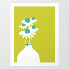 Flowers on Green by Friztin Art Print