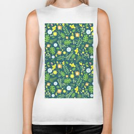 Modern navy blue tropical sunshine yellow green floral Biker Tank