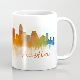 Austin Texas, City Skyline, watercolor  Cityscape Hq v3 Coffee Mug