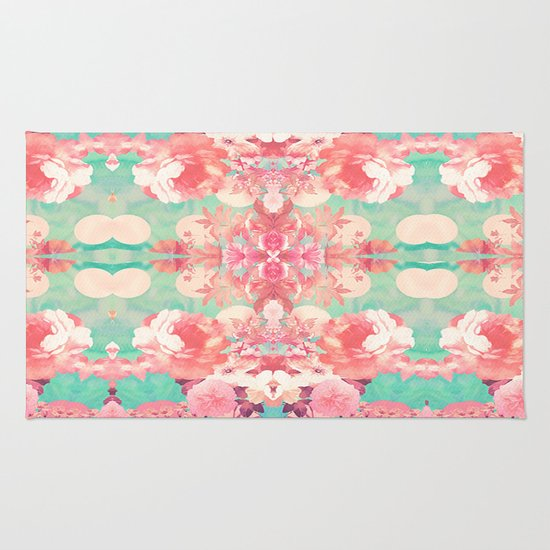 Pink Floral Teal Fashion Kaleidoscope Pattern Rug By Girly