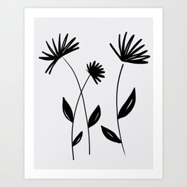 black and white abstract flowers Art Print