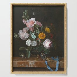 Willem Van Aelst - Vanitas Flower Still Life Serving Tray