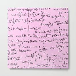 Math Equations // Light Pink Metal Print