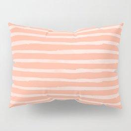 Sweet Life Thin Stripes Peach Coral Pink Pillow Sham