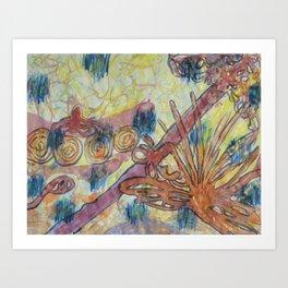 Beach Vegetation With Octopus Art Print