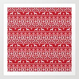 Dalmatian fair isle christmas pattern minimal holiday festive dog breed Art Print