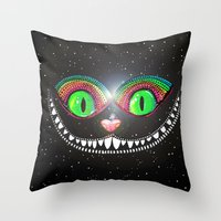 cheshire cat Throw Pillows featuring Cheshire Cat by Luna Portnoi