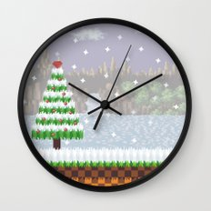Green Hill Christmas Wall Clock
