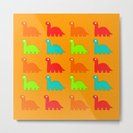 Cute Dino Pattern Walking Dinosaurs Metal Print