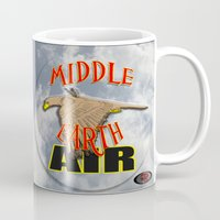 middle earth Mugs featuring darrell merrill nerd artist: middle earth air by Nerd Artist DM