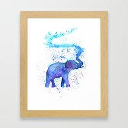 Silhouette Elephant Watercolor Framed Art Print