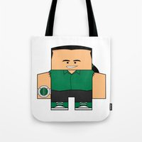 power rangers Tote Bags featuring Mighty Morphin Power Rangers - Tommy (The Original Green Ranger) by Choo Koon Designs