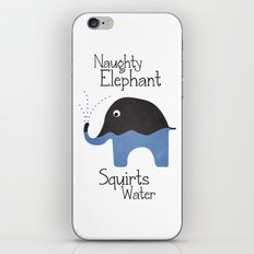 Naughty Elephant Squirts Water. iPhone & iPod Skin