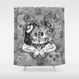 Always Kiss Me Gray Shower Curtain