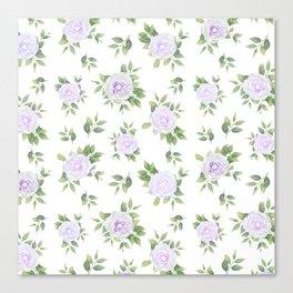 Botanical lavender white green watercolor floral Canvas Print