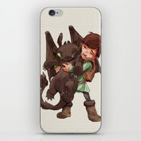 hiccup iPhone & iPod Skins featuring Hiccup & Toothless - Childhood  by David Tako