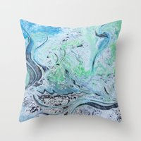 under the sea Throw Pillows featuring Under Sea by Marnie