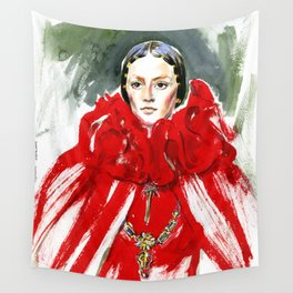 Fashion #10. А woman in red cape and with a heavy necklace around his neck Wall Tapestry