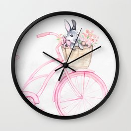 Rabbit and Bicycle Wall Clock