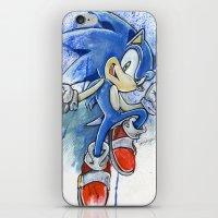 sonic iPhone & iPod Skins featuring Sonic by Luke Jonathon Fielding
