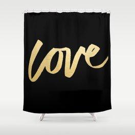 Love Gold Black Type Shower Curtain
