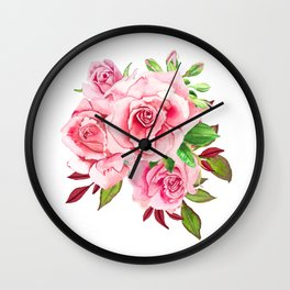Flower bouquet with roses watercolor Wall Clock