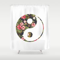yin yang Shower Curtains featuring Yin Yang by Hipster