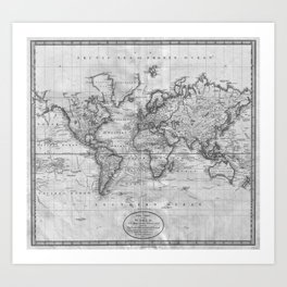 Old map art prints society6 black and white world map 1801 art print gumiabroncs Image collections