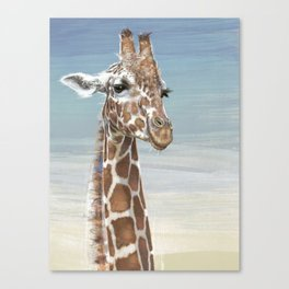 Giraffe Against A Blue Sky Canvas Print