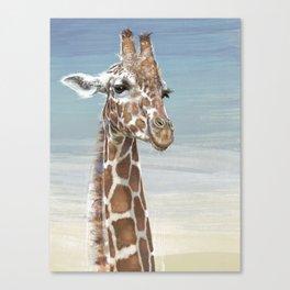Giraffe Against A Blue Sky Canvas Print