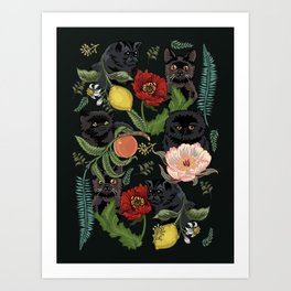 Botanical and Black Cats Kunstdrucke