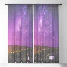 Purple Night Sky Universe Sheer Curtain
