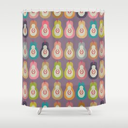 Vintage Pear Rainbow Shower Curtain