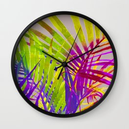 Pop Art Neon Leaf Pattern No. 2 Wall Clock