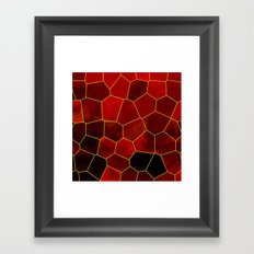 Stained Glass Polygons (Red & Gold) Framed Art Print