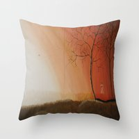 pixies Throw Pillows featuring Walking Among the Pixies by Mary Frankenfield