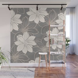 Pink and grey autumn dahlia flowers Wall Mural