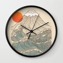 Mount Fuji the great wave  Wall Clock