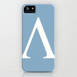 Greek letter lambda sign on placid blue background iPhone Case