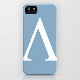 Greek letter lambda sign on placid blue background iPhone Case