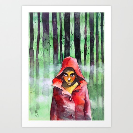 Where is the wolf? (Just another Little red riding hood) Art Print