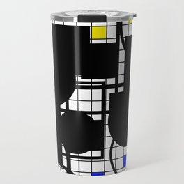 Colour Relationships - Black, white, red, yellow, blue, geometric abstract artwork Travel Mug