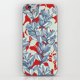 Leaf and Berry Sketch Pattern in Red and Blue iPhone Skin