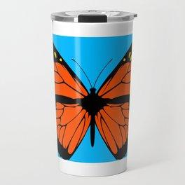 Butterfly Art Orange & Yellow With Blue Background Travel Mug